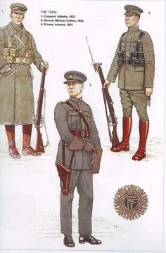 Irish Free State National Army uniforms during the Irish Civil War. Army Uniform, Military Uniforms, Irish Independence, Irish Free State, Easter Rising, Army Vehicles, Military Equipment, World War One, Military History