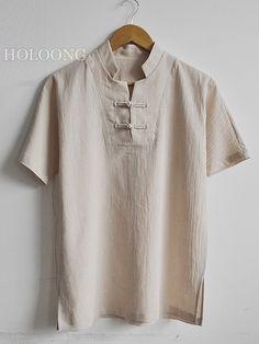 """"" Republic of china Thin Fashion Linen Men T-Shirts """" Republic of china Thin Fashion Linen Hombre Camisetas """" Kurta Men, Mens Trends, Urban Dresses, Harajuku Fashion, China Fashion, Summer Shirts, Stylish Men, Types Of Fashion Styles, Urban Fashion"