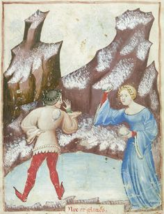 "discardingimages: "" snowball fight Tacuinum Sanitatis, Milan or Pavia ca. 1390-1400 BnF, Nouvelle acquisition latine 1673, fol. 96v """