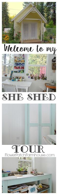 Come tour my favorite work space.  A fantastic she shed for dreaming, creating and just relaxing.  This could be a fabulous garden shed or even an office.  Come see how I use my Studio Cottage.  http://FlowerPatchFarmhouse.com