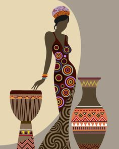 Femme africaine Art Afrocentric Art Art mural africain par iQstudio