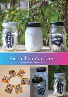 DIY Extra Thanks Jars #ExtraGumMoments #Shop Glitter and Chalkboard Mason Jars filled with Extra Gum as a holiday gift.