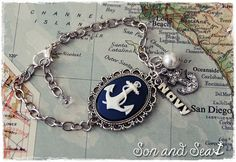 US Navy pride anchor cameo charm bracelet by Son and by sonandsea