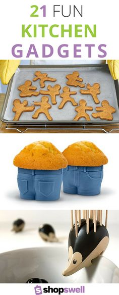 Super fun list of kitchen ideas that will make you smile. Gadgets including a Nessie soup ladle, a Manatee tea leaf strainer, an awesome pizza slicer, and some gorgeous mason jar themed tools to keep things beautiful as well as fun. A list on shopswell.