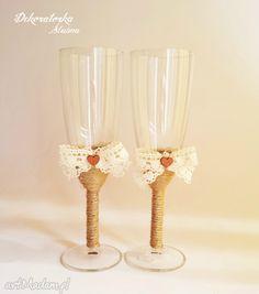 Eko kieliszki szampana sznurek koronka szampanówki serduszka zestaw dwóch pięknie zdobionych