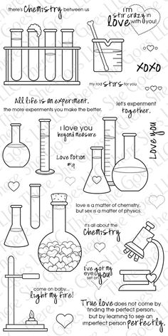 Chemistry by TSG Stamps- minus the hearts, these would be fun for labels in the science room Teaching Chemistry, Science Chemistry, Science Jokes, Organic Chemistry, Physical Science, Earth Science, Science Experiments, Science Education, Chemistry Tattoo