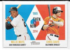 2014 Topps Heritage Then & Now TAN-MD Willie Mays Giants Chris Davis Orioles