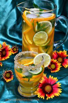 Limonada de citrice - CAIETUL CU RETETE Happy Drink, Lemon Detox, Fruit Infused Water, Romanian Food, No Cook Desserts, Raw Vegan Recipes, Summer Treats, Drinking Tea, Alcoholic Drinks