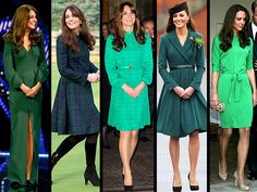 KATE GOES GREEN! THE WEARING OF THE GREEN~      ~ Catherine, Duchess of Cambridge, wears beautiful green outfits for Saint Patrick's Day appearances through the years.