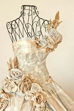 Dress made entirely of pages from books