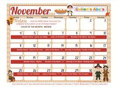 Here is my November calendar to use alongside the FREE online Preschool!  FREE ONLINE PRESCHOOL:  http://online-preschool.cullensabcs.com/