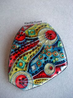 Faux enemal...liquid Kato polymer clay pendant | by Klavdija's corner