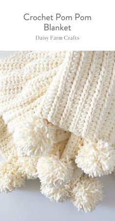 This is a free pattern for a crochet pom pom blanket. I do love a nice chenille blanket throw and this crochet pom pom blanket was fast and really easy. It's only two stitches and leaves you with a nice braid look across the blanket. Crochet Edging Patterns Free, Crochet Blanket Edging, Crochet Borders, Free Pattern, Chenille Blanket, Crochet Blankets, Crochet Daisy, Chunky Crochet, Crotchet