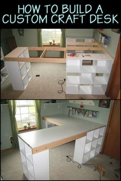 How to build a custom craft desk This Custom Made Craft Table Lets. - How to build a custom craft desk This Custom Made Craft Table Lets You Keep Everythin - Craft Tables With Storage, Craft Room Tables, Craft Desk, Craft Room Storage, Diy Table, Table Desk, Storage Ideas, Ikea Craft Room, Sewing Room Storage