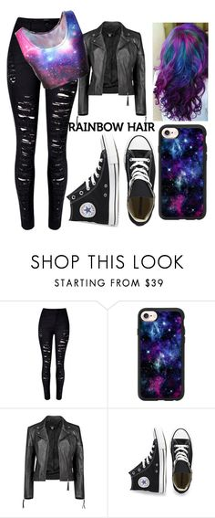 """""""Galaxy Hair"""" by unique-awesome-xoxo ❤ liked on Polyvore featuring WithChic, Casetify, Boohoo, Converse, hairtrend and rainbowhair"""