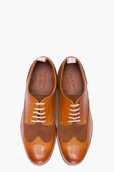 RAG & BONE TAN LEATHER GRENSON EDITION BEDFORD WINGTIP BROGUES