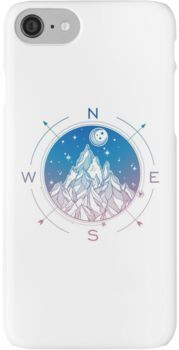 Wanderlust Tattoo of Hand Drawn Mountain Wind Compass iPhone 7 Cases