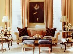 Amelia Handegan design, 18th century house in Charleston. Apricot/butterscotch color scheme, art and antiquesSeen on Southern Charm.