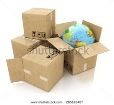 Global logistics, shipping and worldwide delivery business concept: Earth planet globe and heap of stacked corrugated cardboard boxes with parcel goods isolated on white background - stock photo