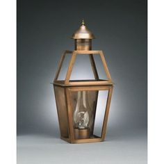 Northeast Lantern Uxbridge 1 Light Outdoor Flush Mount Finish: Antique Brass, Shade Type: Clear
