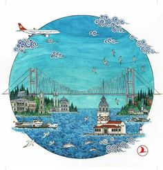 China Painting, Ceramic Painting, Sea Drawing, Beach Illustration, Islamic Paintings, Turkish Art, Silk Art, Map Art, Islamic Art