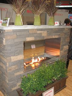See through outdoor fireplace.