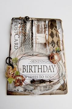 Handmade Birthday Card in Gothic Style - created by Jana Korecic of Scrapbook Abundance for Canvas Corp #DIYCard #sendingbirthdaywishes #7gypsies #canvascorp #printedcardstock