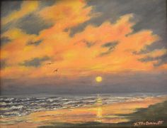 Ocean Sundown (C) 2016 by K. McDermott by Kathleen McDermott Oil ~ 11 x 14