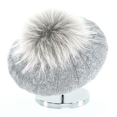 Cable Beret with Fur Puff - Steel Grey Cashmere Beanie, Beret, Cable, Winter Hats, Fur, Steel, Collection, Cabo, Berets