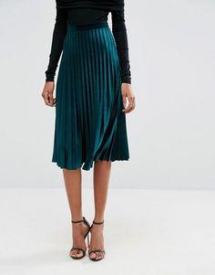 ASOS TALL Pleated Velvet Midi Skirt