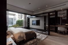 All in one bed, tv unit, walkin wardrobe, and dressing space. Loving the TV unit! unit With Dressing Master Bedroom Interior, Master Room, Bedroom Green, Modern Bedroom, Home Styles Exterior, Black Rooms, Condo Living, Suites, Luxurious Bedrooms