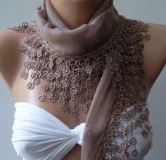Stone Color  Elegance Shawl / Scarf with Lace Edge by womann, $16.90
