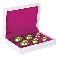@evolvedtoys #ShotsToys #BenWaBalls #KegelExerciser 6-piece Set #Gold $59 Keep your pelvic muscles in shape & increase your pleasure during sex, with this Ben Wa Ball Set. They are easy to insert and will give you an intense massage every time you move. You will get 2 balls in each of the 3 weights that are 3 different sizes as well. (http://www.dallasnovelty.com/shots-toys-ben-wa-balls-kegel-exerciser-6-piece-set-gold/)