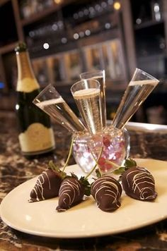 Champagne Shooters with Gran Marnier Injected Strawberries