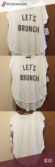 """NWT Signorelli Let's Brunch Tee Let's Brunch graphic scoop neck tee. This Shirt sleeved tee features a weathered screen print. Relaxed style with a shirttail hem. Scoop neck. 50% cotton, 50% modal. 22"""" from armpit to armpit. Not from a smoke free house. Signorelli Tops Tees - Short Sleeve"""