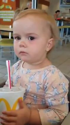 babies drinking drink sour face sour face cute baby soda coke straw mcdonalds fast-food lol funny gif gifs - Find and share funny GIFs on GIFsme Best Funny Videos, Funny Video Memes, Funny Jokes, Hilarious, Meme Gifs, Cute Funny Babies, Funny Cute, Cute Kids, Funny Pins