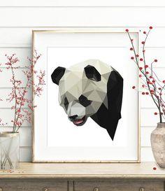 Panda, Geometric print, Low polygon art, Giant panda, Panda print, Nursery decor, Zoo, Children wall art, Animal wall art, Geometric panda by SiriiMirri on Etsy