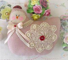 Hen Pillow Doll, Cloth Doll Chicken 7 inch, Cranberry Checks, Primitive Soft Sculpture Handmade CharlotteStyle Decorative Folk Art