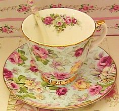 Modern chintz..so lovely.. I have the teapot and creamer with open sugar bowl of this.