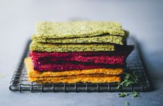 Colorful flatbreads [cauliflower + almond flour + .... 1) beets 2) broccoli 3) carrot]. For sandwiches.