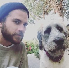 Liam Hemsworth, Liam Hemsworth's beanie and his dog Dora