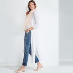 SAINT HONORE DISTRESSED GIRLFRIEND JEANS The slimmer side of the classic boyfriend jean—our girlfriend jeans are cut with a classic rise and distressed touches for a love-worn look. Cuff the hem to your desired length and team with an off-the-shoulder sweater and leather sneakers.