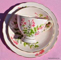 Tuscan pink vintage fine china teacup trio