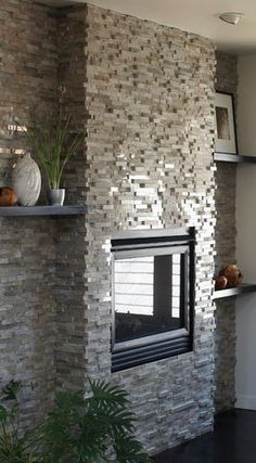 Grigio Vanadeco - modern - fireplaces - orlando - by aZura Stoneworks Grey Stone Fireplace, Stacked Stone Fireplaces, Basement Fireplace, Fireplace Update, Rock Fireplaces, Fireplace Wall, Living Room With Fireplace, Fireplace Design, Handmade Home Decor