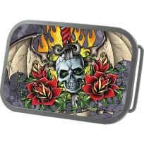 Life and Death Skull Tattoo Belt Buckle