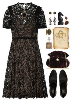 """""""Indulge Your Dark Side"""" by grapecar1015 ❤ liked on Polyvore featuring American Apparel, Gucci, Suzy Smith, Sonoma life + style, Oscar de la Renta, vintage and CrimsonPeak"""