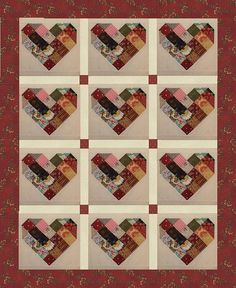 Kentucky Patchwork Heart Quilt Block Set This listing is for quilt blocks only  Sold in sets of 12 blocks.. each block is 14 inches  Completely scrappy Each block or set will vary in color and fabric designs Background fabric is a solid ivory All fabrics are 100% cotton  These