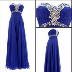 Royal blue prom Dress,Charming Prom Dress,Sweetheart prom dress,Chiffon prom dress,Long prom dress,BD176