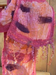 Cobweb Sherbet surprises by combining deep swatches of wine and bright orange across a rosy pastel palette. These unlikely combinations can brighten or deepen an outfit. Pastel Palette, Dyed Silk, Swatch, Scarves, Bright, Deep, Wine, Orange, Outfit