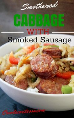cajun and creole recipes Smothered Cabbage with Smoked Sausage and Peppers - Creole Contessa Cabbage And Smoked Sausage, Smoked Sausage Recipes, Sausage And Peppers, Stuffed Peppers, Smoked Sausages, Cabbage Recipes, Pork Recipes, Cooking Recipes, Healthy Recipes